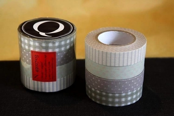 Japanese Decorative Washi tape set of 4 - Stripe Dots Gingham Grid 13mm (Q) PrettyTape