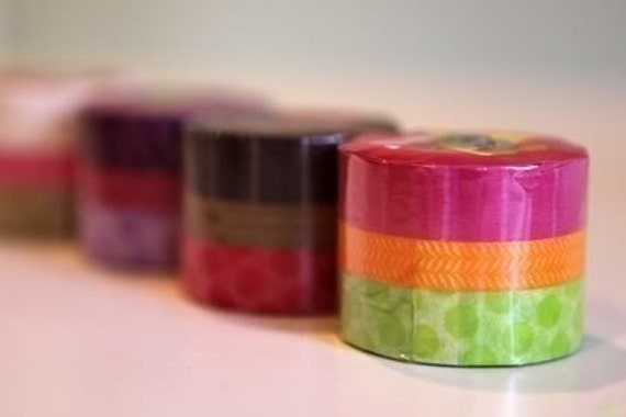 Gift Package Japanese Washi Tape Stripe, Chartreuse Green Polka Dots Pattern FRANC BOISE Set of 3
