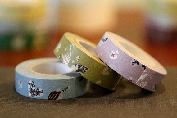 Birthday Celebration Japanese Washi Masking Tapes Girl Fun Heart Set of 3