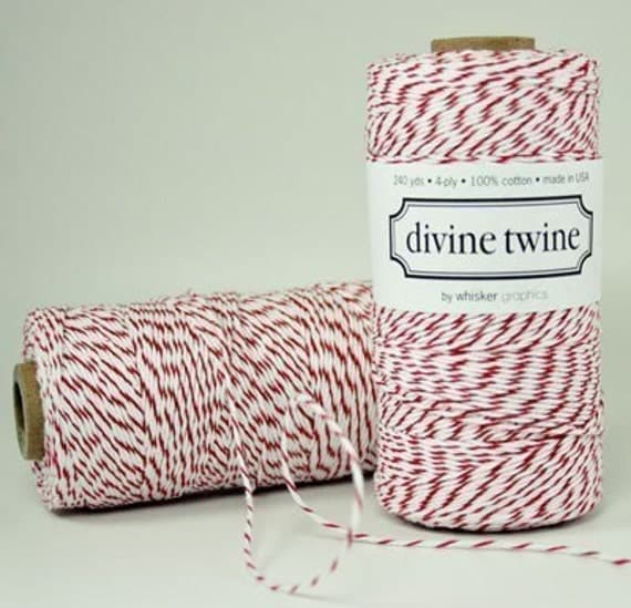 Red Bakers Twine Red Twine Red and White Stripes Cotton String 240 Yards Christmas Holiday GIft Wrapping