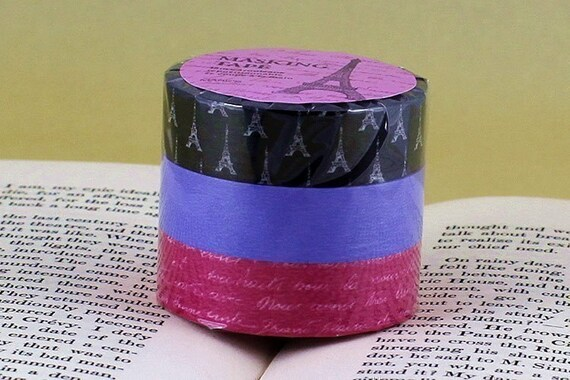 Eiffel Tower Paris Handwriting Japanese Washi Masking Tape - Black, Purple Blue, Pink, Set of 3
