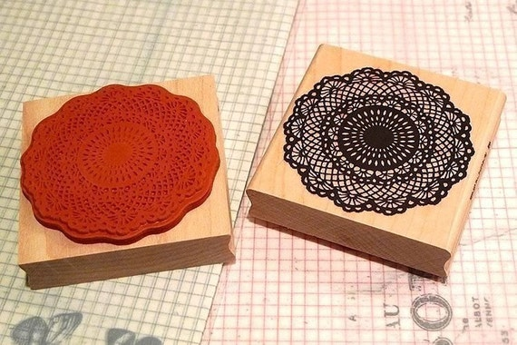 Doily Rubber Stamp Big Floral Lace Wooden Wedding Doily Stamp