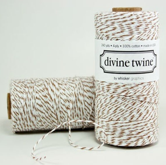 COCOA BROWN Bakers Twine Brown Twine with white stripe 240 Yards of Twine String
