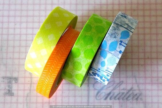 Japanese Washi Masking Tapes Gingham Wiggly Polka Dots GARDEN Pattern 15mm - Set of 4 - V2