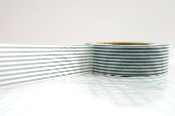 Grey Stripe Japanese Paper Washi Tape Gray Lines - mt 15mm