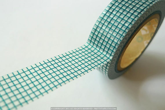 TEAL GRID Japanese Washi Tape MT 15mm from PrettyTape