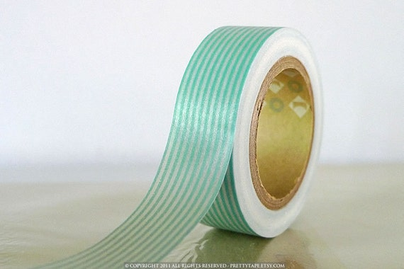 Japanese Washi Tape - HORIZONTAL Baby Blue Stripes 15mm- Great for baby nursery decor