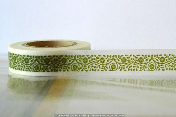 Japanese Washi Tape Green Floral Vine Frame Border 15mm SINGLE