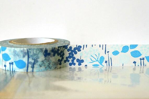 Japanese Washi Tape - Little Garden BLUE Masking Tape 15mm Wedding, Gift Wrapping