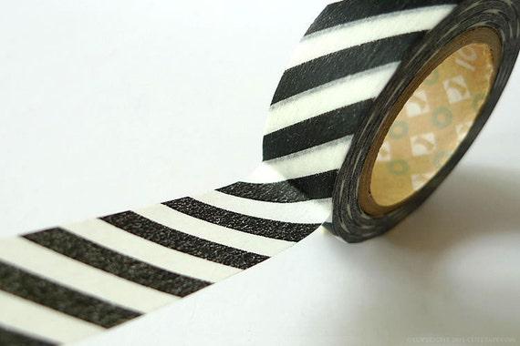 Japanese Washi Tape Black and white Striped- Thick Diagonal Stripe 15mm MT