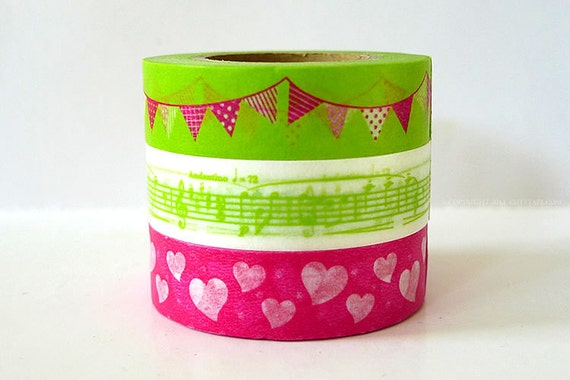 Party Time Japanese Washi Tape - Lime Green Paper Garland, Music Note, Pink Hearts - Set of 3