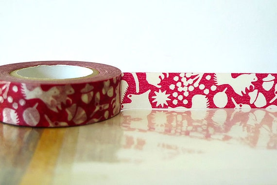 Fall Japanese Washi Tape Red Squirrel, Acorn, Leaves Masking Tape Woodland Party