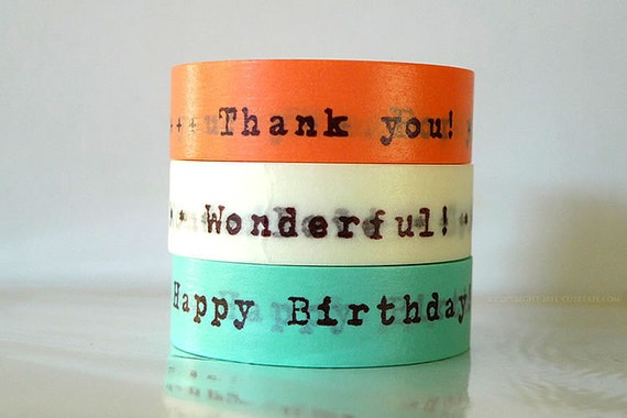 Happy Birthday Washi Tape Thank You Japanese Masking Tapes For You, Messages - Set of 3 PrettyTape