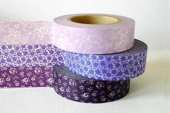 Purple Wedding Decorations Washi Tape Set of 3 - 147ft Total