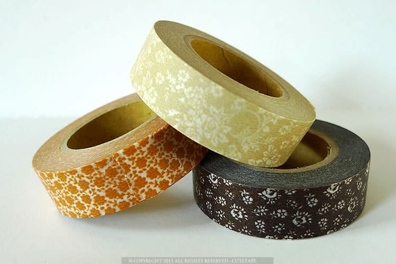 Washi Tape BROWN Floral Print Set of 3 Tan Rose, Amber Masking Tape from PrettyTape