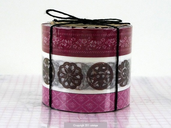 Floral Antique Button Pattern Set of 3 BORDEAUX - Japanese Masking Tape cardmaking supplies