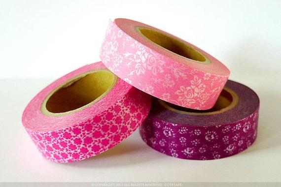 PINK Wedding Decorations- Pink Rose FLOWER Pattern Japanese Washi Tape Set of 3