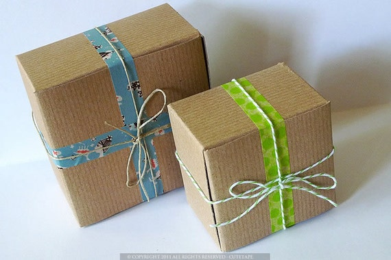 Kraft Gift Boxes Packaging 3x3x2 and 4x4x2 BLANKS  - Sample Favor Box Set of 10