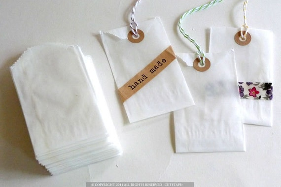 50 Flat Small Glassine Bags Treat Bags Small Gift Bag Wedding Favor Birdseed Bags