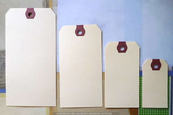 One HUNDRED Manila Tags in MEDIUM Gift Tag 3 3/4x1 7/8 - Set of (100)