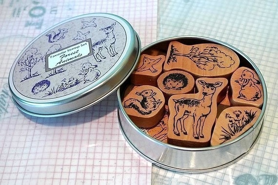 Animal Rubber Stamps- Animal FAVORITE Stamp Set Squirrel, Deer, Rabbit