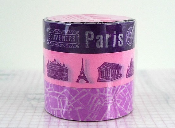 PURPLE Paris Map Monuments Washi Japanese Tape Set of 3