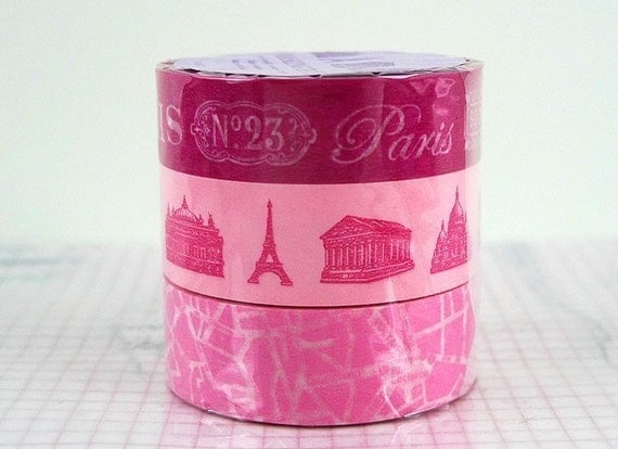 Princess Pink Paris Eiffel Tower Map Monuments Japanese Washi Tape - Set of 3