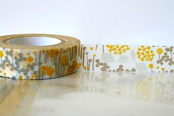 Japanese Washi Tape Little Garden GREY and YELLOW Orange Masking Tape 15mm Wedding, Birthday, Gift Wrap and Packaging