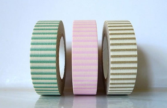 Japanese Decorative Washi masking tape Set of 3 - Stripes - PRETTY green pink brown (D)