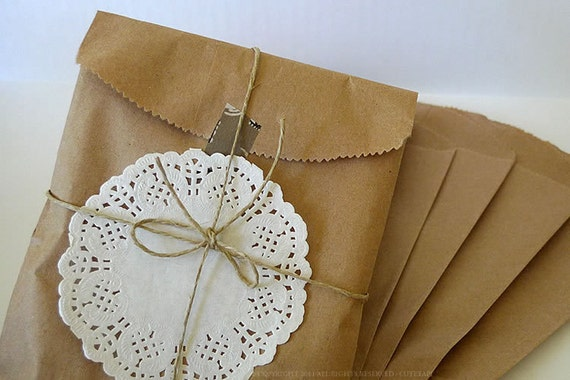 Brown Paper Bags 5x7 Kraft Paper Bags 50 BLANK Favor Bags Gift Wrapping