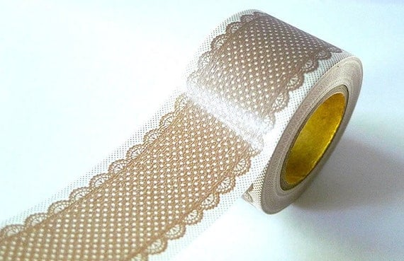 Natural Brown Lace Deco Tape Lace Dots Japanese Tape - 38mm