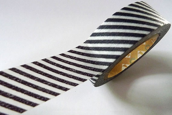 Japanese Washi Tape Black / Dark Gray Stripe MT Masking Tape - 15mm from Pretty Tape