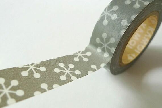Grey Japanese Washi Tape - Cherry Blossom Sakura Snowflake Maskting Tape MT 15mm