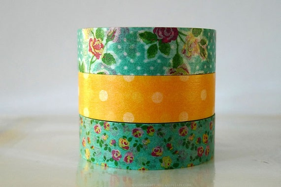 Aqua Green Yellow Washi Tape Roses Polka Dots masking tape - Set of 3 PrettyTape