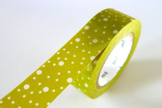 Galaxy Space Out MUSTARD GREEN Washi Tape 15mm Japanese MT Dots Masking Tape - PrettyTape