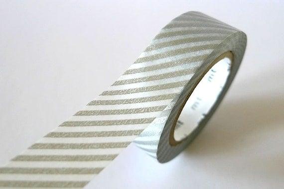 Thin SILVER STRIPE Washi Tape 15mm Japanese MT Masking Tape - PrettyTape