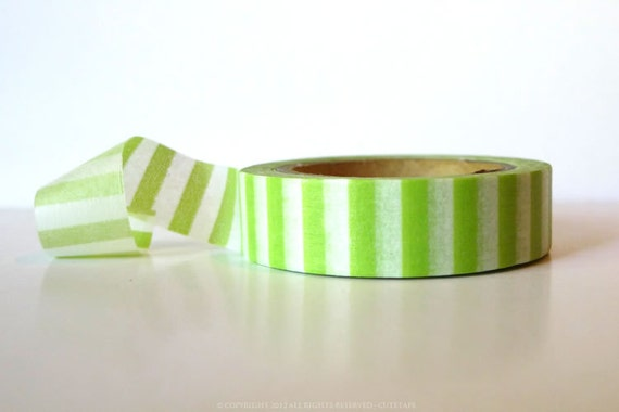 From Sweden Washi Tape Green Candy Stripe (Chugoku) Paper Tape