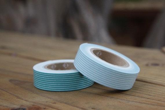 Cute Turquoise Blue Line Masking Tape - Set of 2