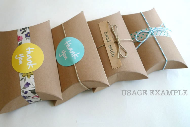 Kraft gift boxes kraft pillow boxes packaging box 3 by prettytape