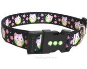 Dog Collar  Pink Owls -  18 adjustable to 27 - thedoggiehouse