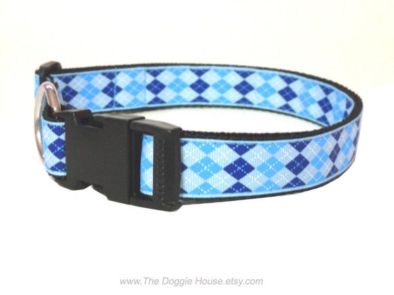 Dog Collar - Preppy Blue 20 adjustable to 29