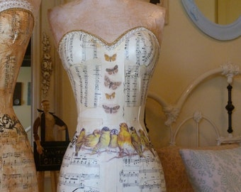 Full Size Vintage Inspired Dress Form MannequinBird Butterfly French Blue Romantic Cottage FREELSHIP Layaway Plan