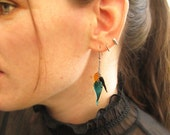 Twisted Teardrop Glass Earrings In Teal, Jet Black, and Amber Gold