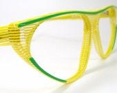 Vintage1980s Yellow Eyeglasses Eyewear Frame NOS