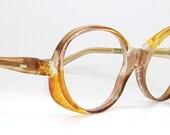 Vintage70s 80s Orange Big Lens Eyeglasses Eyewear Frame France NOS