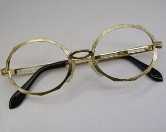 Vintage Gold 80s Eyeglasses Eyewear Frame NOS