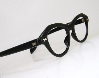 Vintage Black Horn Rim Cateye Eyeglasses Eyewear Frame