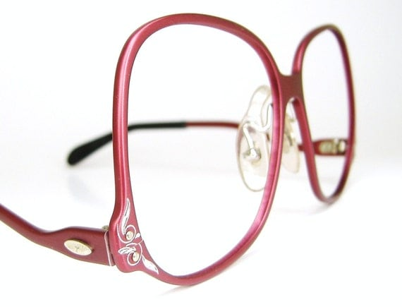 Big Red Frame Glasses : Vintage Tura Red Big Lens Eyeglasses by VintageOpticalFrames