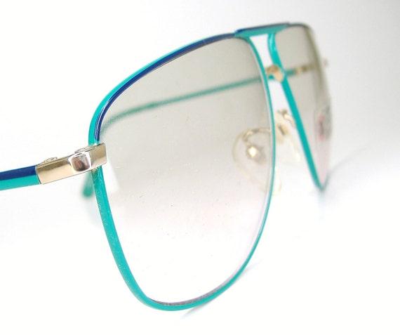 Vintage Tura Aviator 1970s Green Blue Big Lens Eyeglasses Frame NOS
