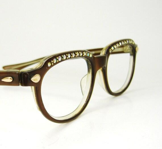 Vintage Brown Cateye Eyeglasses Eyewear With Rhinestones Frame